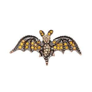 🦇 Orange Rhinestone Bat Brooch